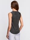 Блузка принтованная с V-образным вырезом oodji #SECTION_NAME# (черный), 21400388-3/35542/2912D - вид 3