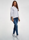 Рубашка свободного силуэта с асимметричным низом oodji #SECTION_NAME# (белый), 13K11002-3B/26357/1070O - вид 6