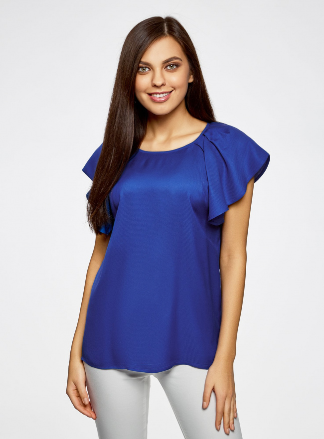 Блузка из вискозы с рукавами-крылышками oodji #SECTION_NAME# (синий), 11411106/45542/7500N
