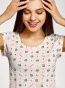 Пижама хлопковая принтованная oodji для женщины (белый), 56002220-7/44135N/1219Q