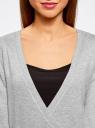 Жакет трикотажный с запахом oodji #SECTION_NAME# (серый), 63212495/18944/2000M - вид 4