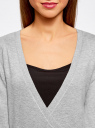 Жакет трикотажный с запахом oodji для женщины (серый), 63212495/18944/2000M