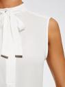 Топ свободного силуэта с завязками oodji #SECTION_NAME# (белый), 24911002/36215/1200N - вид 5
