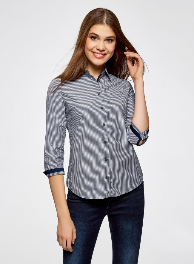 Рубашка с рукавом 3/4 хлопковая oodji #SECTION_NAME# (серый), 11403201-1/43346/7910S
