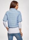 Куртка стеганая с короткими рукавами oodji для женщины (синий), 10207003/45420/7001N - вид 3