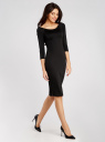 Платье облегающее с вырезом-лодочкой oodji для женщины (черный), 14017001/42376/2900N