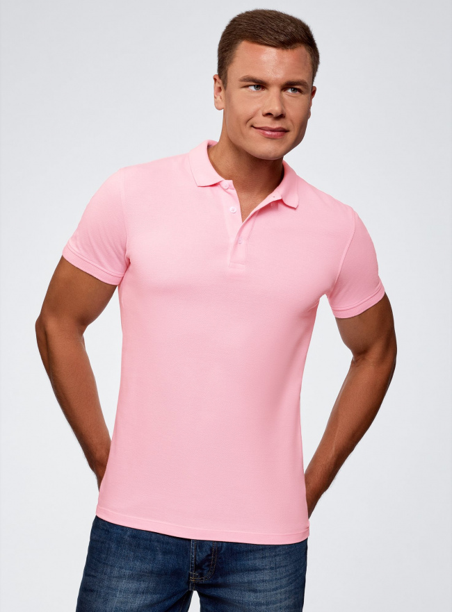 Поло из ткани пике oodji для мужчины (розовый), 5B422001M/44032N/4100N