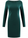 Платье трикотажное облегающего силуэта oodji #SECTION_NAME# (зеленый), 14001183B/46148/6E01N