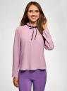 Блузка с декоративными завязками и оборками на воротнике oodji #SECTION_NAME# (фиолетовый), 11411091-2/36215/8000N - вид 2