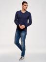 Пуловер хлопковый в мелкую графику oodji #SECTION_NAME# (синий), 4L212162M/21655N/7975G - вид 6