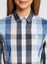 Блузка клетчатая прямого силуэта oodji #SECTION_NAME# (синий), 11411131/46090/7523C - вид 4