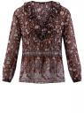 Блузка принтованная с воланами и стразами oodji для женщины (красный), 11411110/10466/4919F