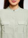 Блузка вискозная с регулировкой длины рукава oodji #SECTION_NAME# (зеленый), 11403225-3B/26346/6000N - вид 4