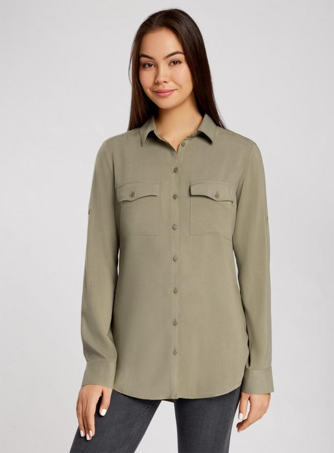 Блузка базовая из вискозы oodji для женщины (зеленый), 11400355-6B/26346/6600N