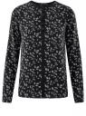 Блузка из струящейся ткани с контрастной отделкой oodji #SECTION_NAME# (черный), 11411059B/43414/2912F