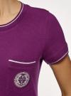 Футболка прямого силуэта с вышивкой oodji #SECTION_NAME# (фиолетовый), 14701090/46161/8300P - вид 5