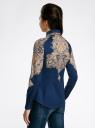 Блузка хлопковая с этническим принтом oodji для женщины (синий), 21402212-2/45966/7533E
