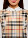 Платье клетчатое без рукавов oodji #SECTION_NAME# (бежевый), 11910072-2/32831/3529C - вид 4
