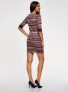 Платье жаккардовое с геометрическим узором oodji для женщины (красный), 14001064-5/46025/3133J - вид 3