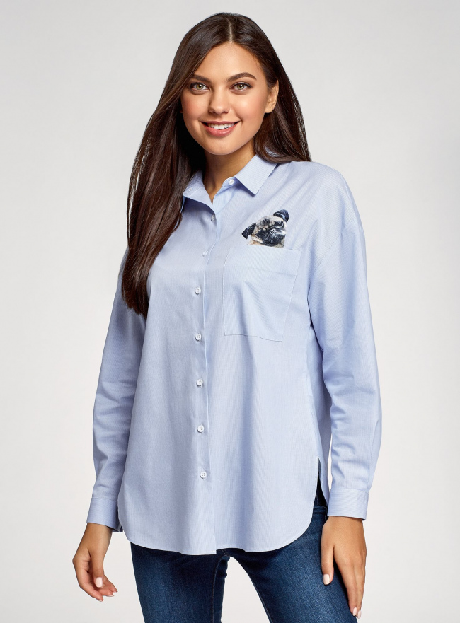 Рубашка oversize с вышивкой oodji #SECTION_NAME# (синий), 13K11004-1/45387/1070S