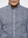 Рубашка льняная принтованная oodji для мужчины (синий), 3L110323M/48268N/1079F