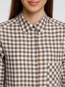 Рубашка свободного силуэта с регулировкой длины рукава oodji #SECTION_NAME# (коричневый), 11411099-1/43566/6812C - вид 4