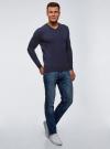 Пуловер базовый с V-образным вырезом oodji #SECTION_NAME# (синий), 4B212007M-1/34390N/7900M - вид 6