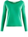 Футболка из вискозы с длинным рукавом oodji для женщины (зеленый), 14208001/19768/6D00N