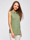 Топ вискозный с нагрудным карманом oodji для женщины (зеленый), 11411108B/26346/6200N - вид 2