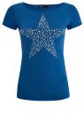 """Футболка с принтом """"звезда"""" из страз oodji для женщины (синий), 14701048-4/24428/7592P"""