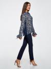 Блузка из комбинированных тканей с модными манжетами oodji #SECTION_NAME# (синий), 11411119/17288/7930F - вид 6