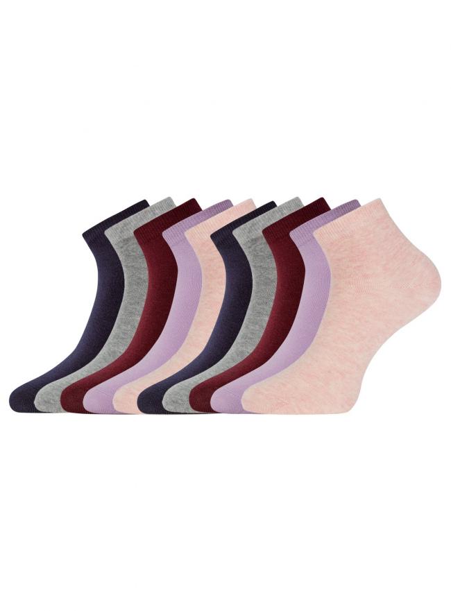 Комплект укороченных носков (10 пар) oodji для женщины (разноцветный), 57102418T10/47469/19CJN