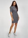 Платье трикотажное с воротником-стойкой oodji #SECTION_NAME# (серый), 14001229-1/47420/2541Z - вид 6