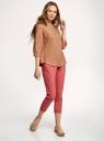 Рубашка хлопковая с воротником-стойкой oodji для женщины (коричневый), 23L12001B/45608/3702N