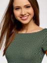 Платье трикотажное принтованное oodji для женщины (зеленый), 14001117-7/16564/6912G