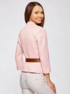 Жакет льняной с широким ремнем oodji #SECTION_NAME# (розовый), 21202076-2/45503/4000N - вид 3