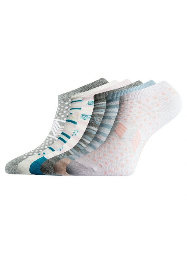 Носки укороченные (комплект из 6 пар) oodji #SECTION_NAME# (разноцветный), 57102462T6/47213/19BHG