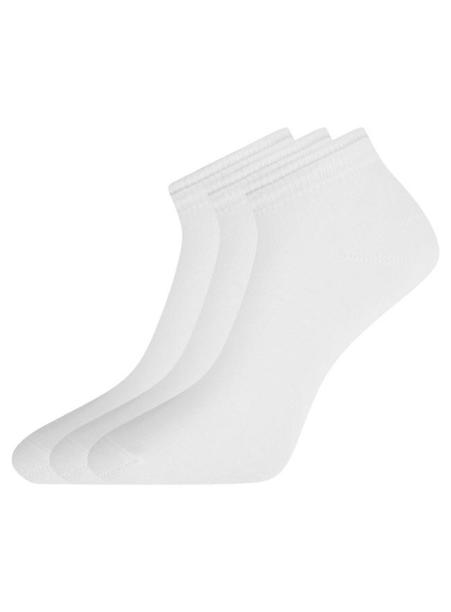 Комплект носков с двойной резинкой (3 пары) oodji для женщины (белый), 57102703T3/47469/18