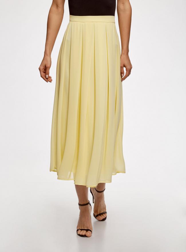 Юбка миди из струящейся ткани с мягкими складками oodji для женщины (желтый), 21600285/17358/5000N
