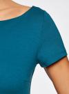 Платье трикотажное с вырезом-лодочкой oodji #SECTION_NAME# (бирюзовый), 14001117-2B/16564/6C00N - вид 5