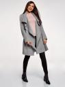 Пальто без застежки с поясом oodji #SECTION_NAME# (серый), 10104042-1/47736/2501M - вид 6