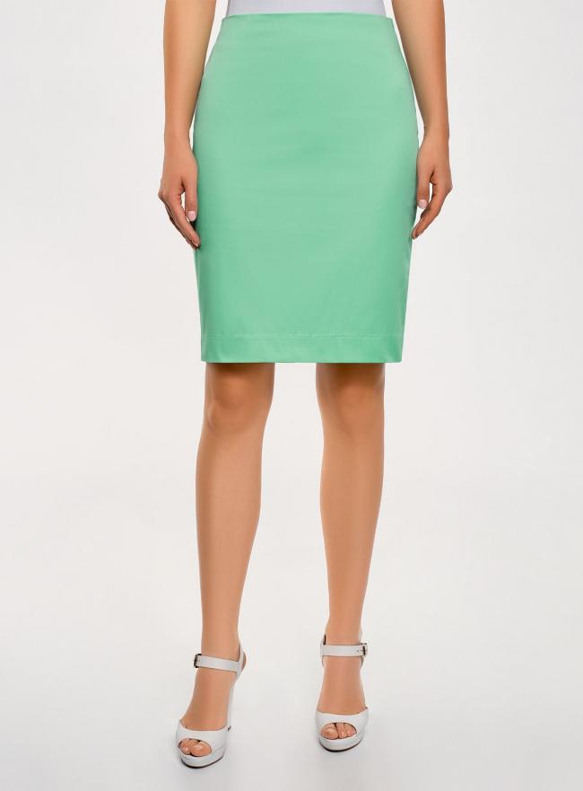 Юбка прямого силуэта базовая oodji для женщины (зеленый), 21608006-4B/42307/6500N