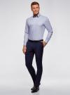 Рубашка хлопковая с контрастной отделкой oodji #SECTION_NAME# (синий), 3L110332M/48645N/7000O - вид 6