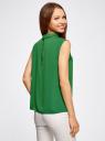 Блузка базовая без рукавов с воротником oodji #SECTION_NAME# (зеленый), 11411084B/43414/6E00N - вид 3