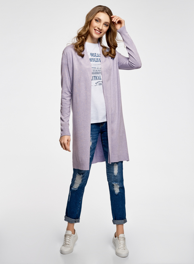 Кардиган удлиненный без застежки oodji для женщины (фиолетовый), 73212385-4B/48117/8000M