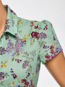 Блузка принтованная из легкой ткани oodji #SECTION_NAME# (зеленый), 21407022-9/12836/6580F - вид 5