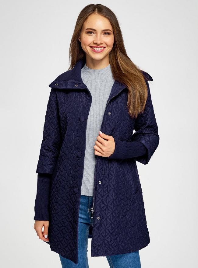 Пальто стеганое с воротником-стойкой oodji для женщины (синий), 28303004/47200/7901N
