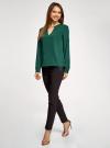 Блузка с вырезом-капелькой и металлическим декором oodji #SECTION_NAME# (зеленый), 21400396/38580/6900N - вид 6