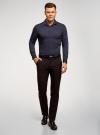 Рубашка базовая приталенная oodji для мужчины (синий), 3B140000M/34146N/7902N - вид 6