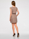 Платье принтованное из вискозы oodji #SECTION_NAME# (бежевый), 11910073-2/45470/3312D - вид 3